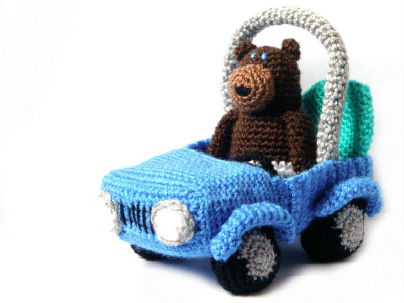 Amigurumi Pattern Crochet Surfer Bear Car Crochet