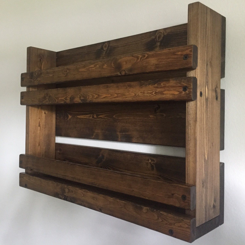 Rustic spice rack with 2 shelves, Bathroom 2 shelf organizer, Spice ...