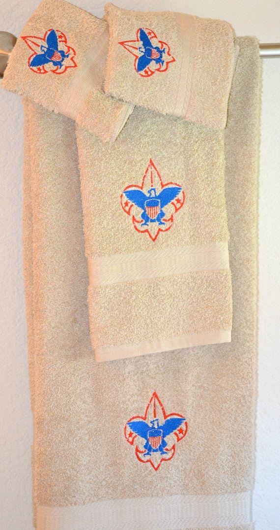 Boy scout towel setGift set by CustomCuteKids on Etsy, $40.00. Great thank you gift idea.
