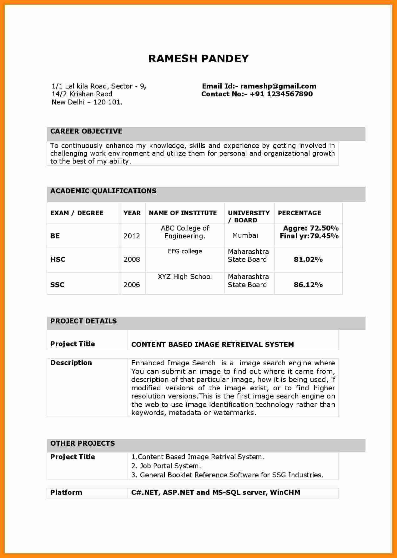 Biodata Sample For Job Free To Download Google Search Resume