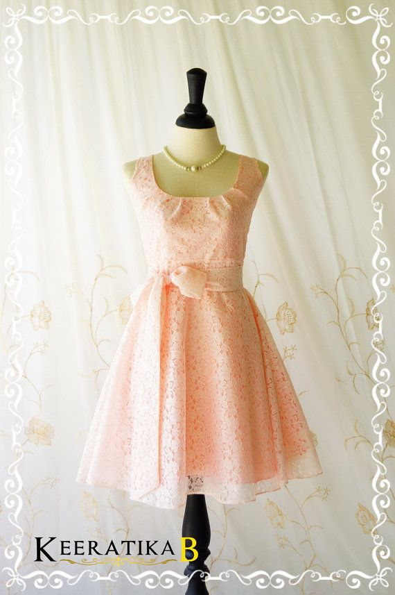 My Lady - Nicely Pale Pink Lace Dress Vintage Design Lace Sundress Party Dress Baby Pink Lace Bridesmaid Dress Spring Summer XS-XL Custom