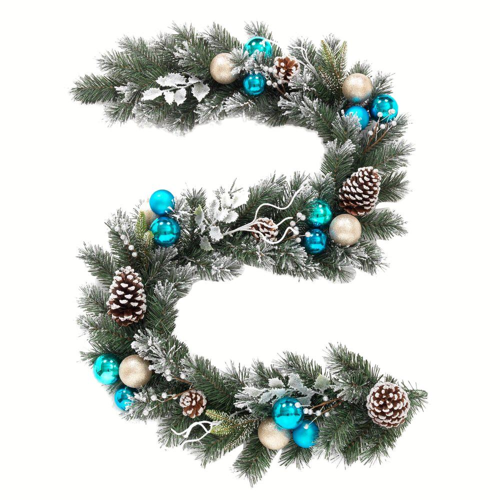 Home Accents Holiday 6 Ft Flocked Pine Garland With Blue Plate And