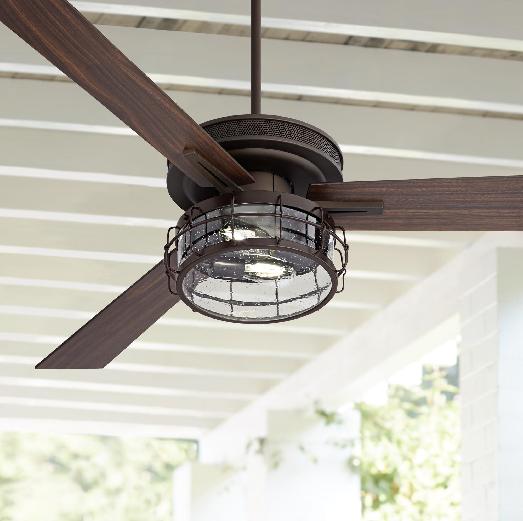 Ceiling Fans 60 Taladega Oil Rubbed Bronze Seedy Glass Led Ceiling Fan Led Ceiling Fan Ceiling Fan Ceiling Fan With Light