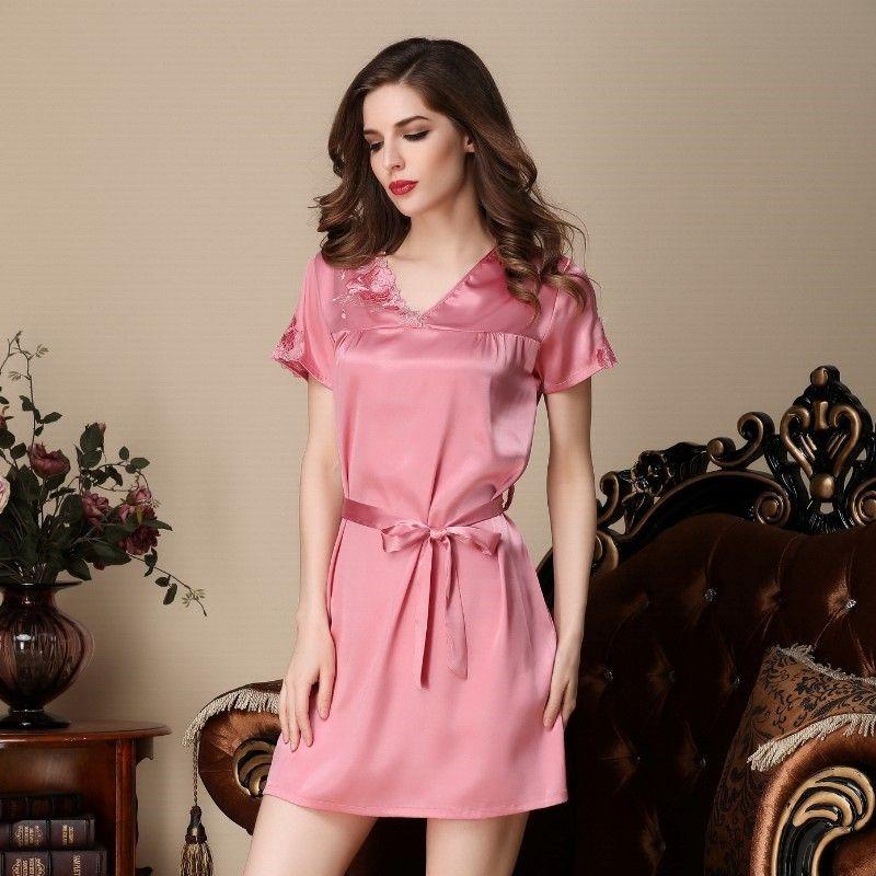 WOCLEILIY - Women Satin Long Nightdress Silk Lace Lingerie