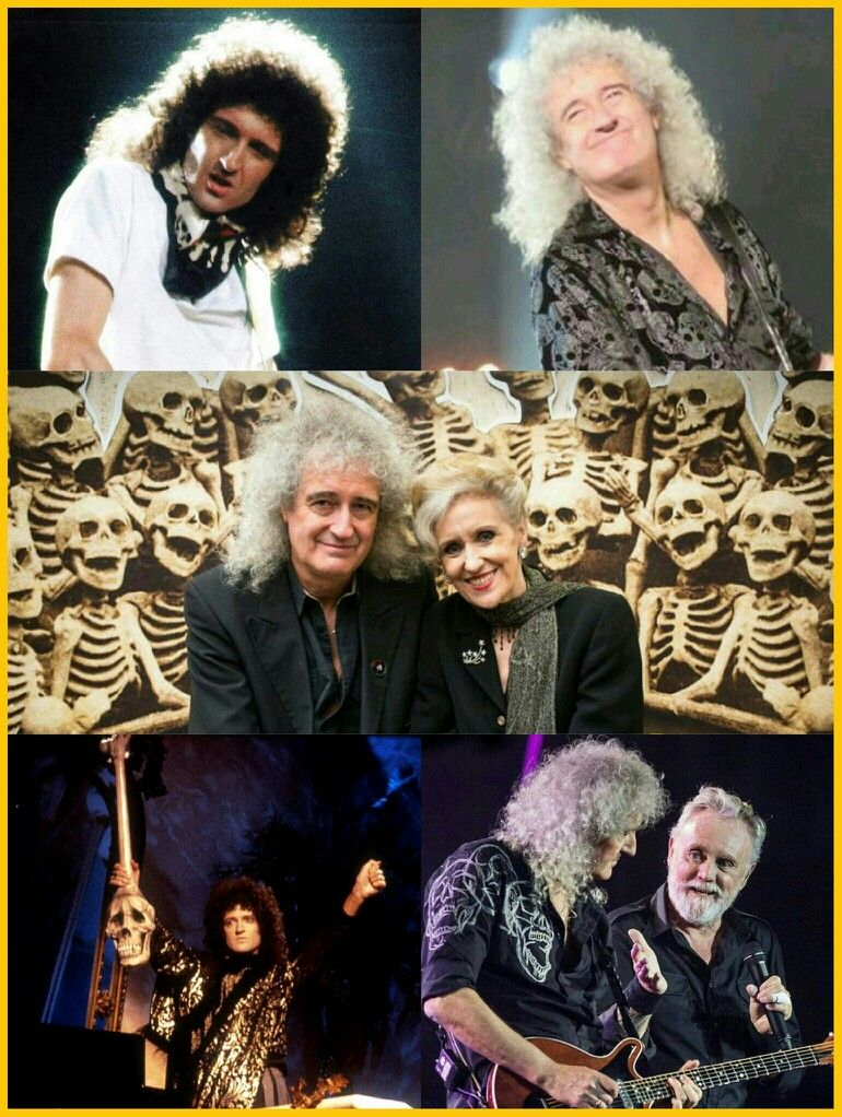 Brian May with skull and skeleton