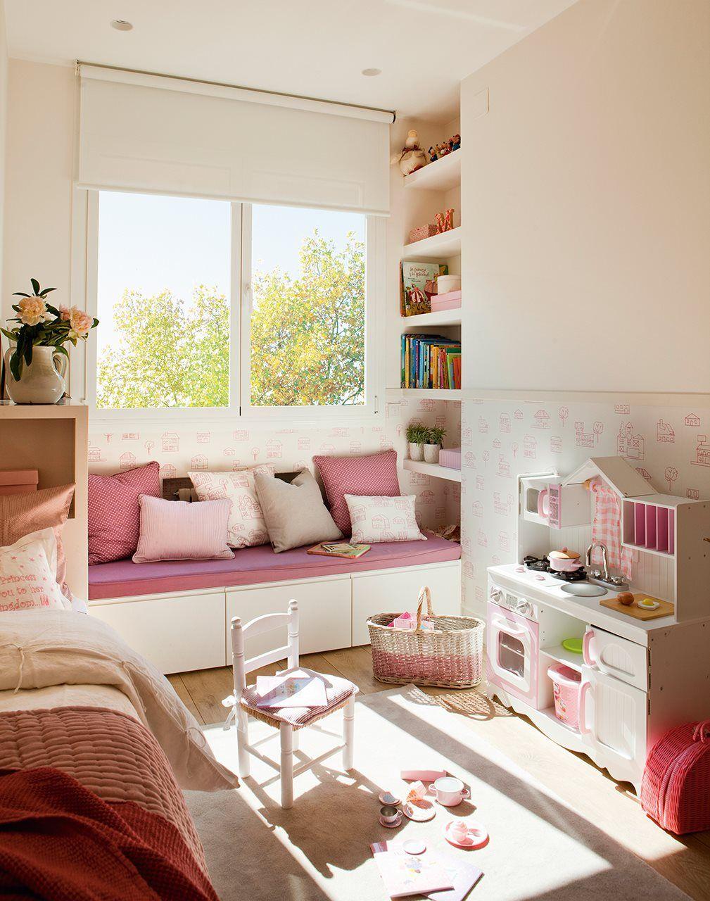 Dormitorio infantil en rosa aprovechar el espacio - Aprovechar espacio dormitorio ...