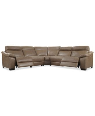 gennaro 5 pc leather sectional sofa with 2 power recliners with rh pinterest com