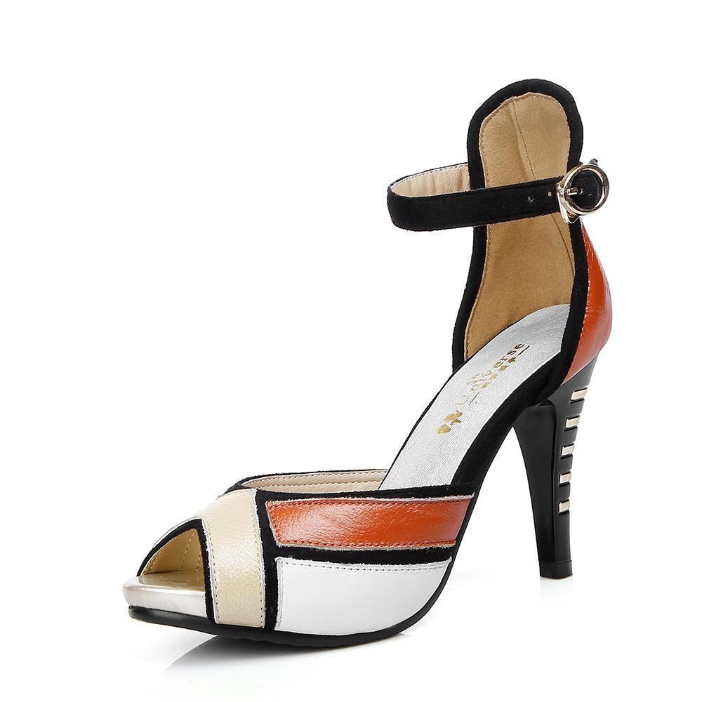 d4728c470f6 Genuine Leather High Heel Sandals Women s Platform Shoes Peep Toe Summer  Pumps