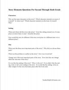story elements questions printable for 2nd 6th grade reading rh pinterest com