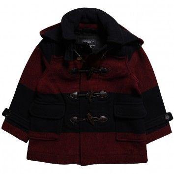 Hackett London Boys Navy Blue & Red Wool Blend Duffle Coat at ...
