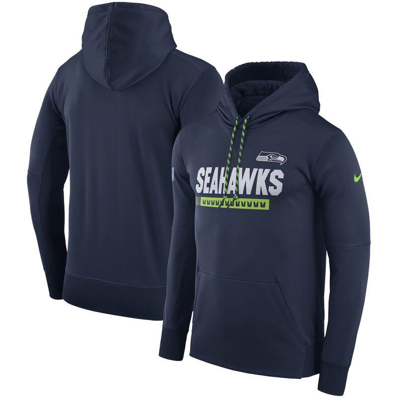 93671b475509b Seattle Seahawks Nike Sideline Team Name Performance Pullover Hoodie - Navy