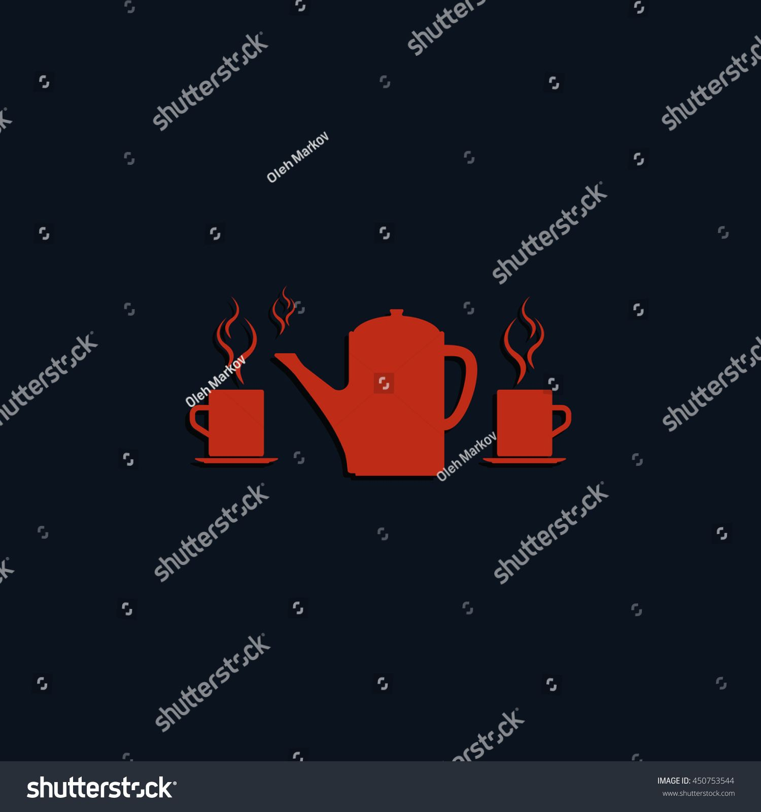 Set of silhouettes teapot and cups. Flat illustration. #Sponsored , #spon, #teapot#silhouettes#Set#illustration