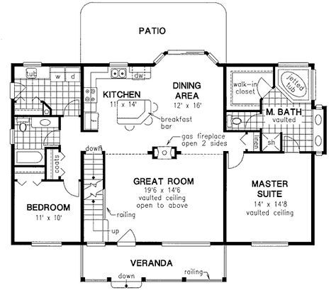 Farmhouse Style House Plan 58548 With 3 Bed 2 Bath Country Style House Plans Guest House Plans Bedroom House Plans