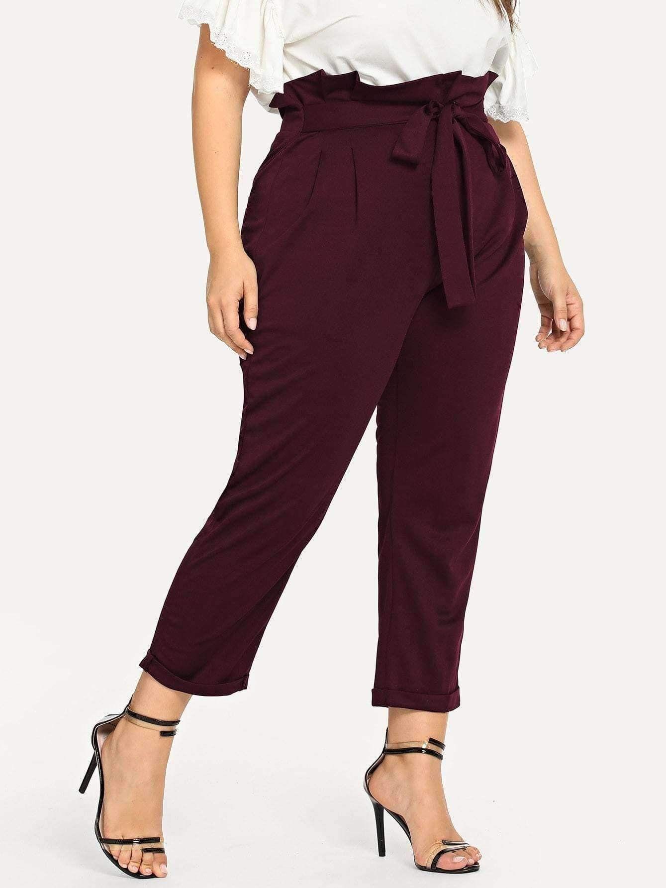 94ee85de3d7 Self-Tie Pants in 2019   Plus Size Collection   Trouser pants ...