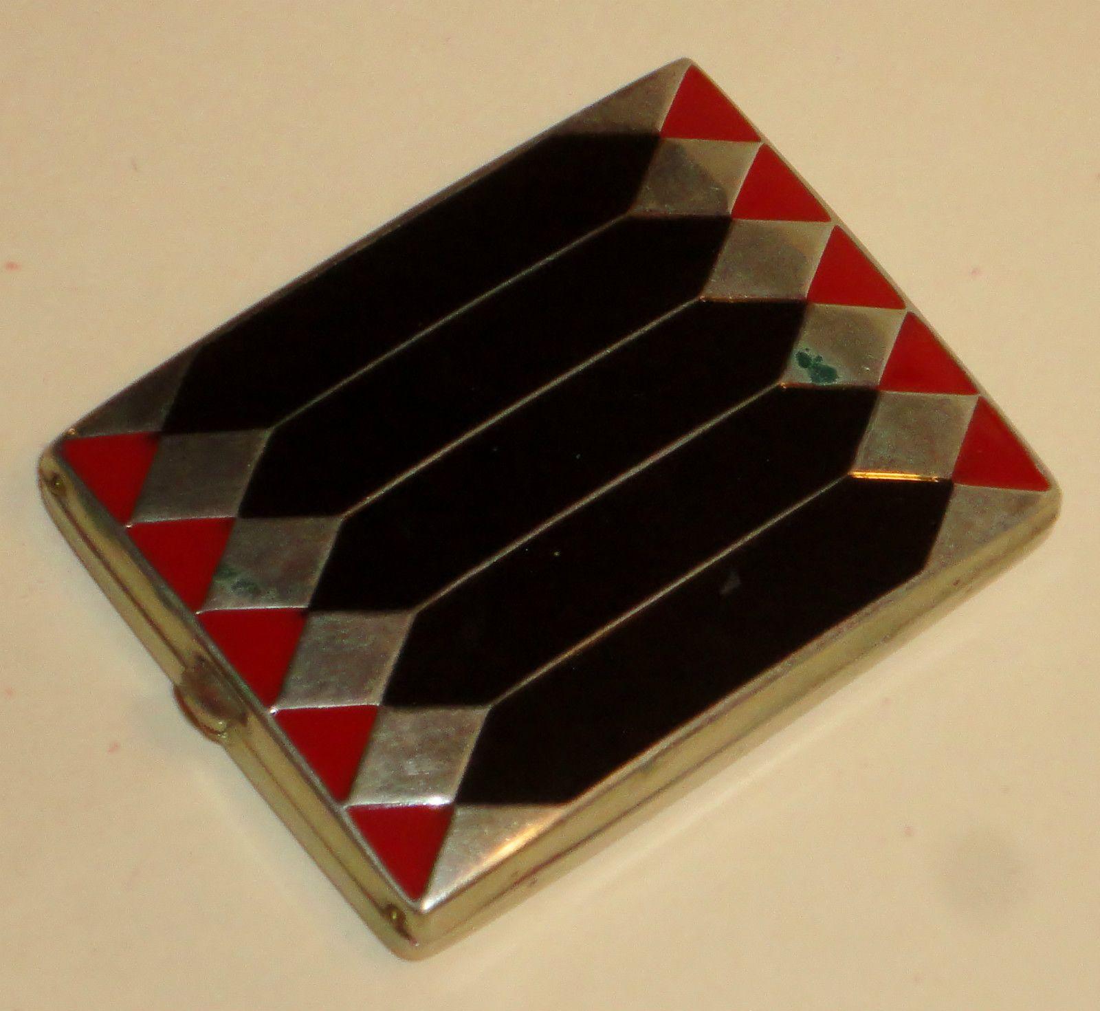 vintage Art Deco Primrose House compact powder rouge silver w black & red enamel | eBay