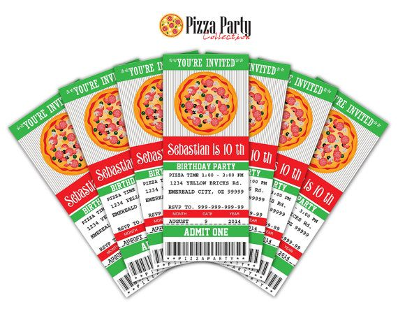 Pizza Party Invitation Ticket Printable Instant By Sqweezdesign