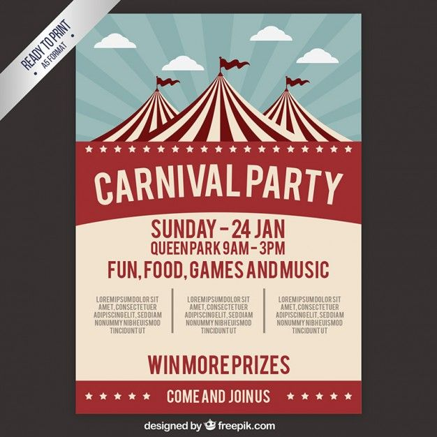 Carnival party poster in retro style Free Vector Graphic Design - retro flyer templates