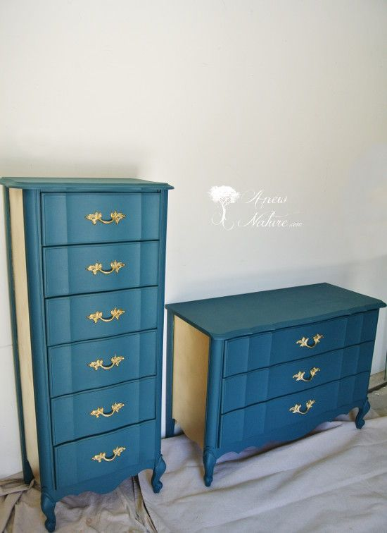 Anew Nature Furniture, St. Louis Based Furniture Upcycling Small Business,  Gold And Teal