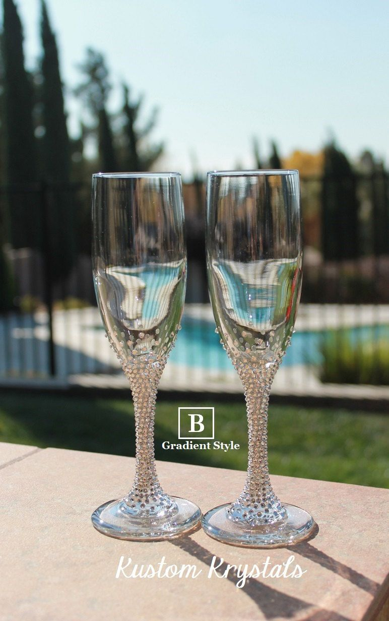 41d9db80fd Custom Swarovski crystal embellished STEM toasting flutes. Lenox Toasting  glasses. Champagne flutes for weddings- anniversaries- party