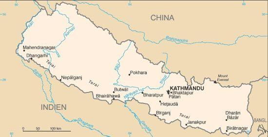 Himalaya Berge Karte.Landerlexikon Nepal Liegt Im Hochsten Gebirge Der Welt Dem