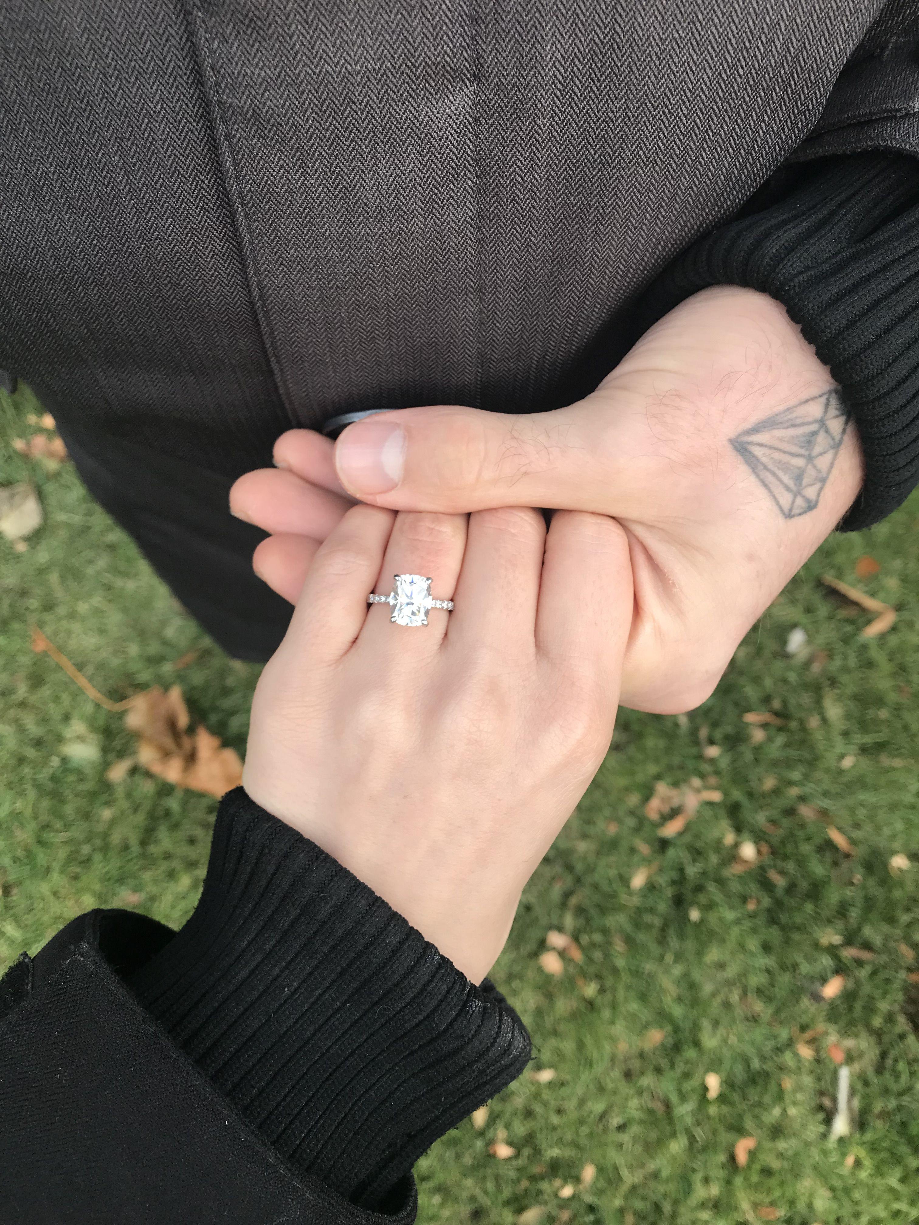 Custom Made Elongated Cushion Cut Moissanite Engagement Ring