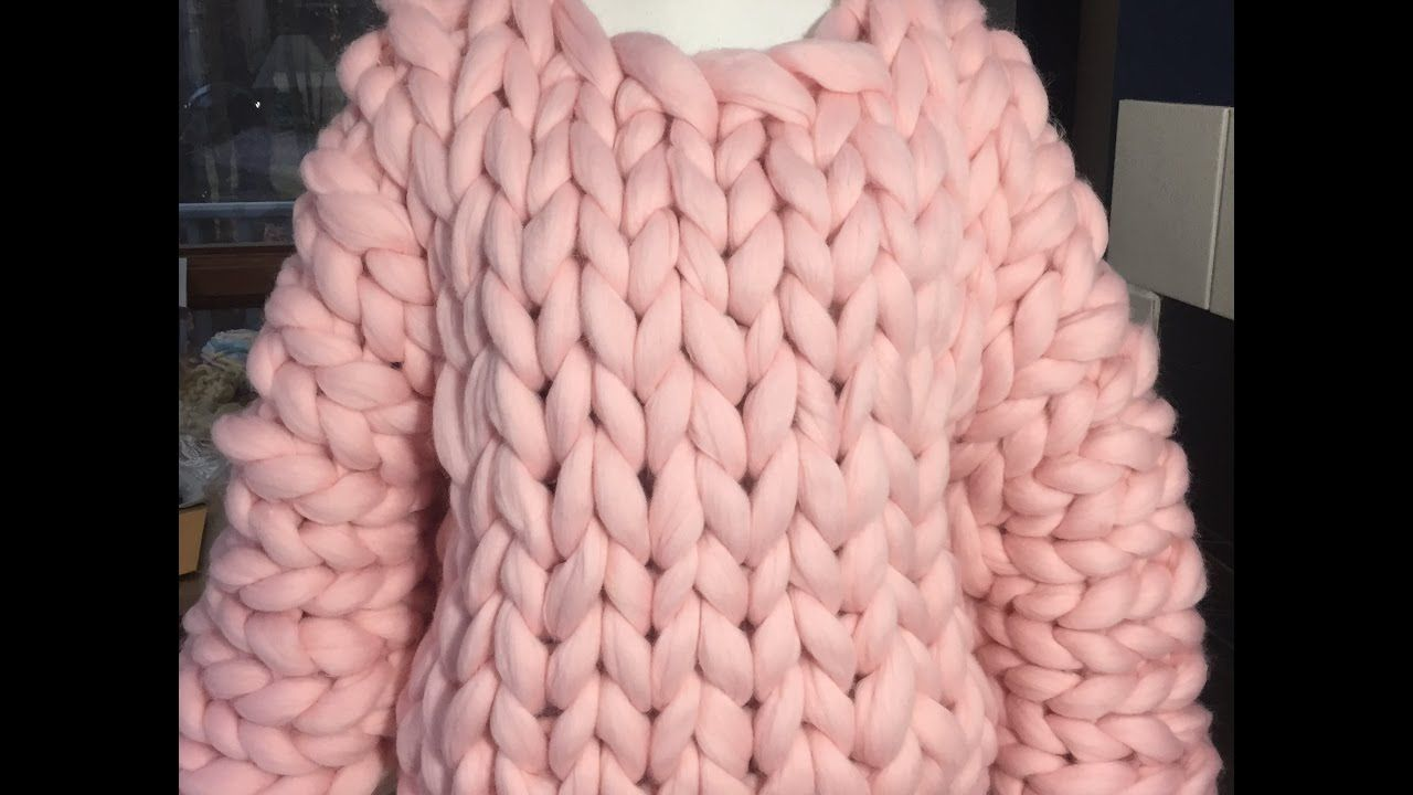 4751644a7bb201 How to hand knit a super chunky sweater with BeCozi - YouTube ...