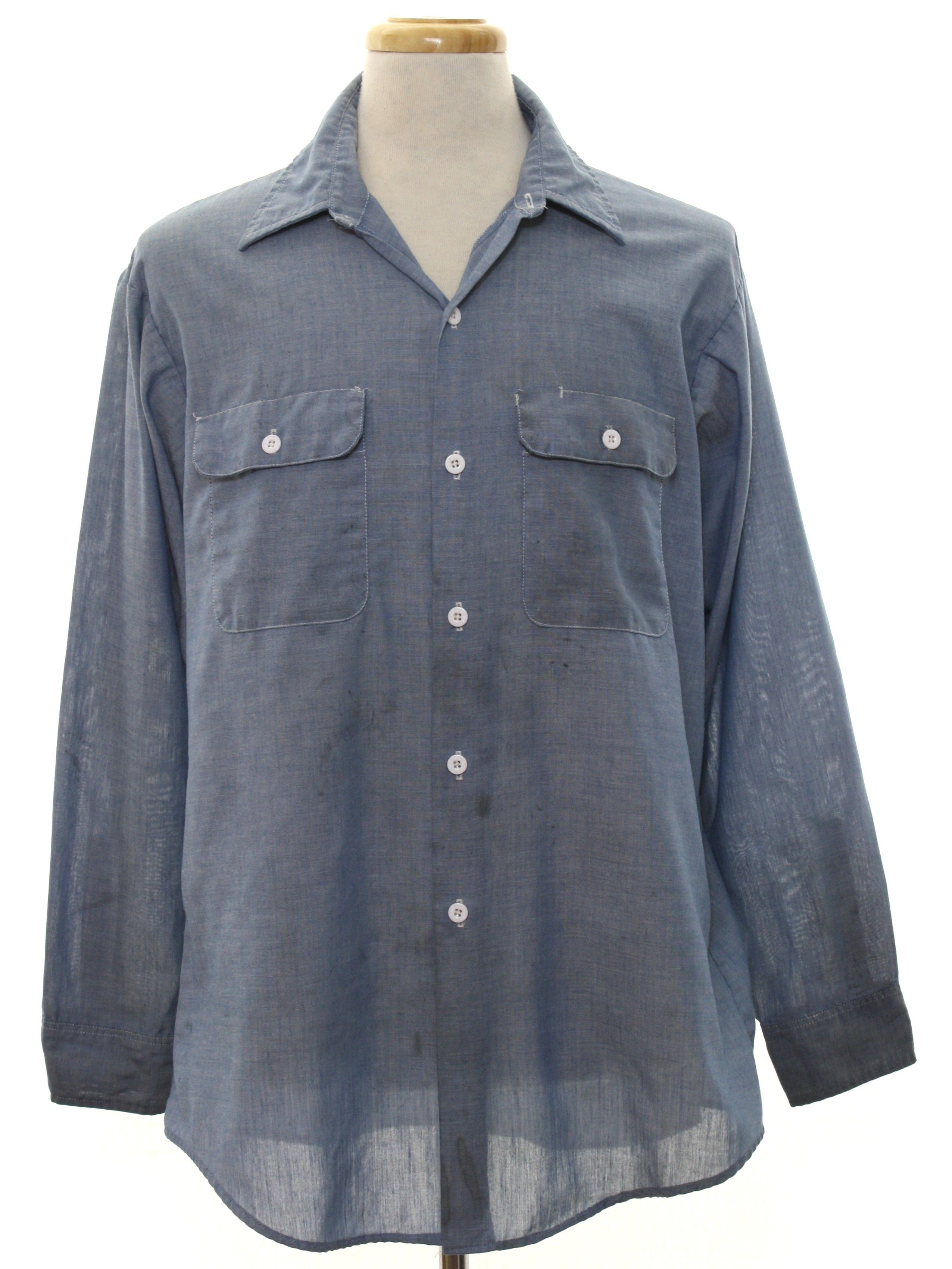 e43b6a7a4e 1980s Big Mac Shirt  80s -Big Mac- Mens chambray blue background polyester  cotton