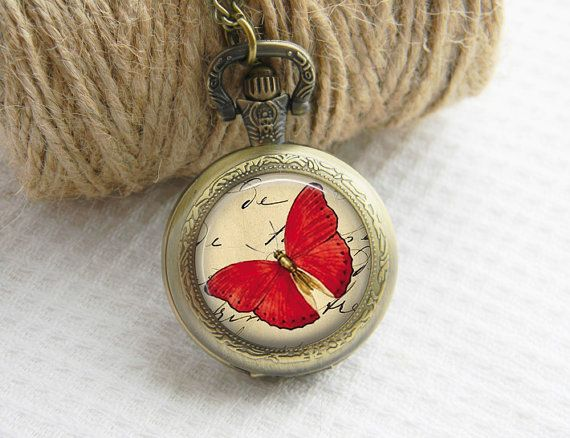 Pocket Watch Necklace Art Photo Pendant Watch Red by PrintGlass