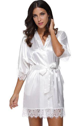 b7236782a41f 2017 Plus Size Lace Patchwork Bride Bridesmaids Robe Sexy Lingerie Women s  Silk Wedding Party Kimono Robes Nightgown Sleepwear