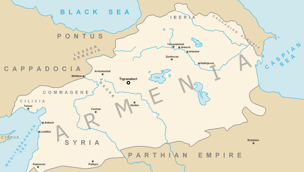 The Kingdom of Armenia at its greatest extent under Tigranes the