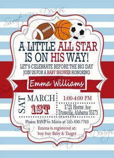 Baby Shower Invitation , All Star Baby Shower Invitation, Sports Baby  Shower Invitation, Sports Theme, All Star Baby Shower