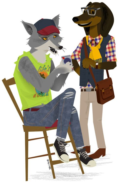 Hipster Animals by Dyna Moe http://www.theddi.com/inspiration/hipster-animals/