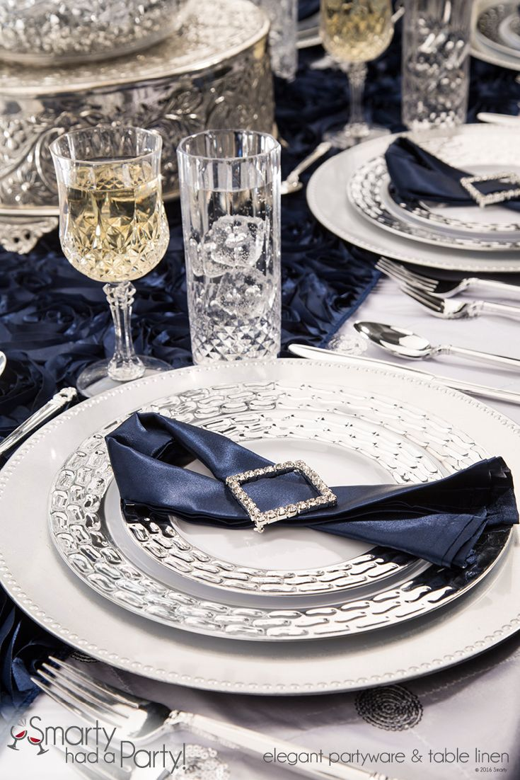 Good Navy Blue And Silver Natalia Table Setting | SmartyHadAParty.com