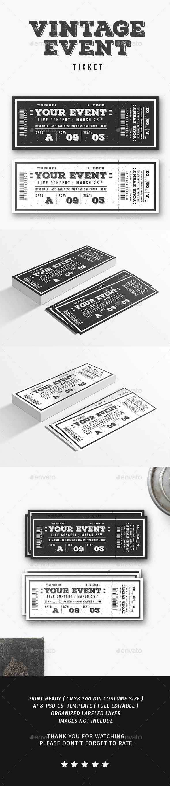 Vintage Event Ticket  Event Ticket Ticket Template And Template