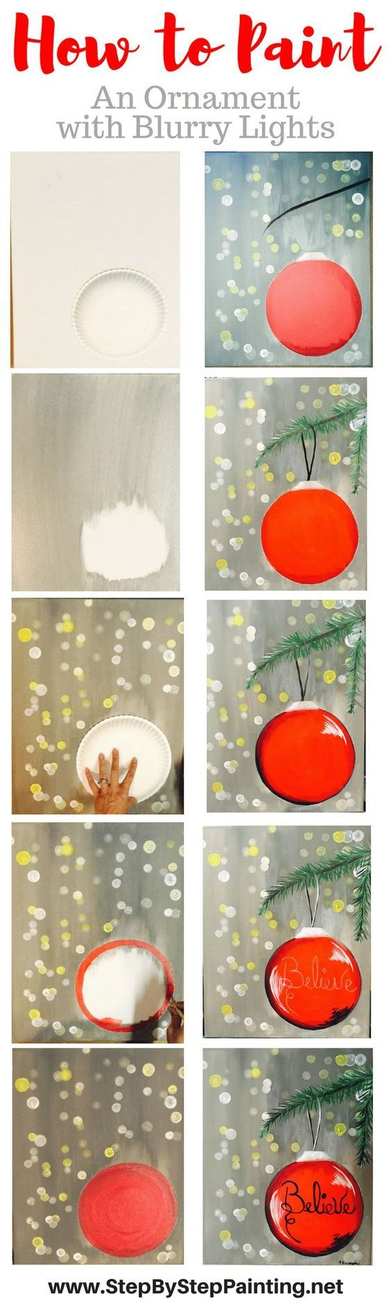 How To Paint An Ornament With Blurry Lights - Tracie's Canvas Tutorials