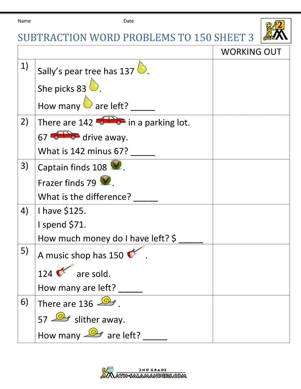 medium resolution of Word Problem Worksheets 2nd Grade Math Worksheet 2nd Grade Subtraction  Problems Second Facts   Subtraction word problems