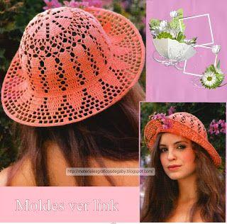 Materiales gráficos Gaby  Sombreros en crochet con patrones  5918623726c