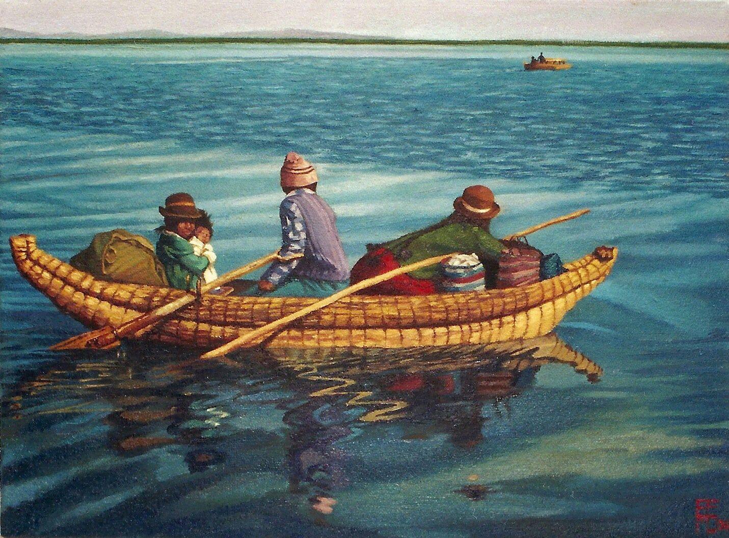 oleo 30 x40cm.Lago Titicaca