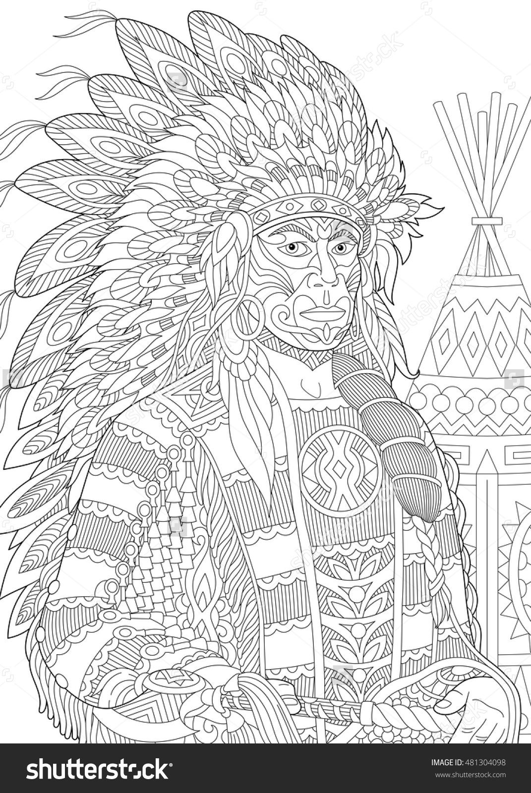 Red Indian Chief Redskin Man Wearing Traditional Headdress Adult Coloring Page Zentangle 481304098