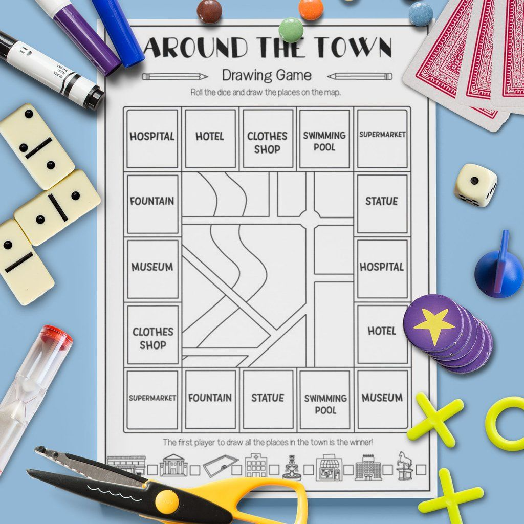 Esl Kids Around The Town Drawing Game Speaking Activity