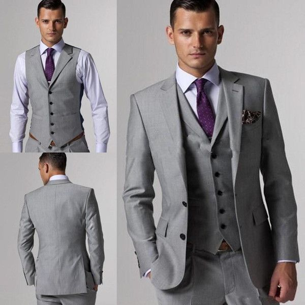 2018 Custom Formal Men Light Grey Side Vent Groom Tuxedos Groomsmen Best Man Wedding Suits Bridegroom Business Wear (Jacket Pants Vest Tie) is part of Grey suit wedding - Bridegroom (jacket Pant Vest Tie)ST001 1 best service with high quality 2 sales modelmix order 3 fast delivery time