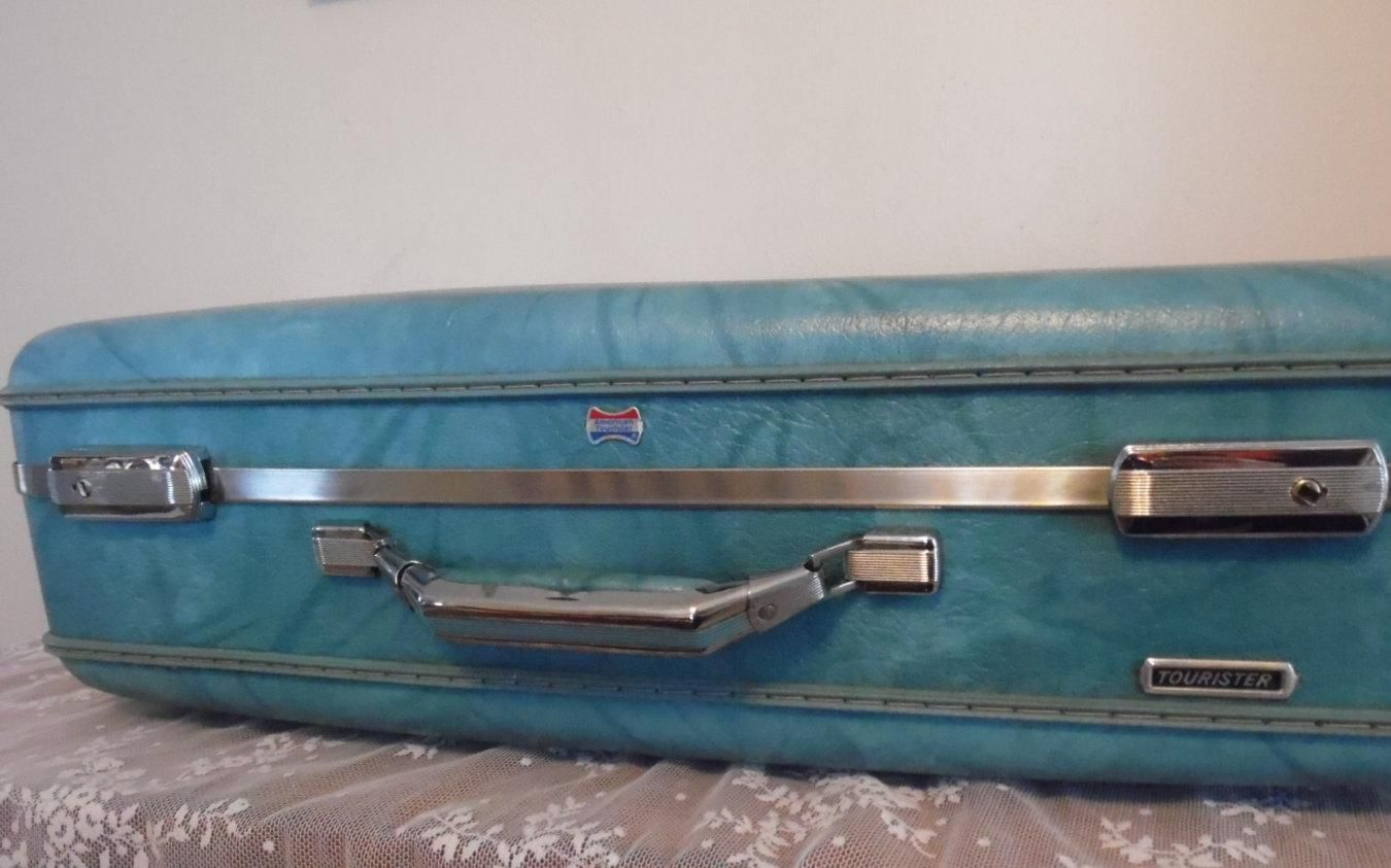 Vintage Luggage Blue American Tourister Suitcase Hard Shell Retro Travel  Case Mid Century Home Decor