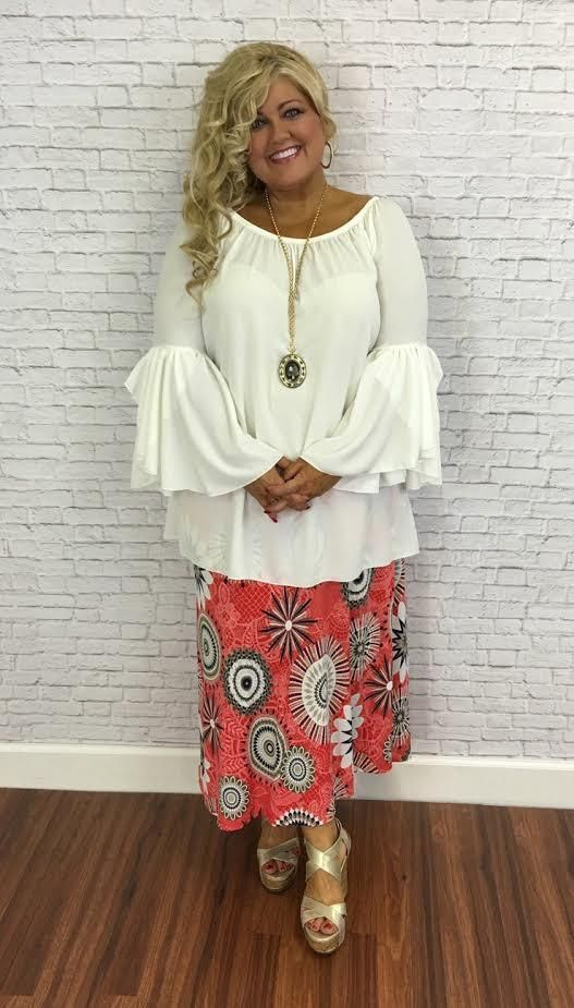 6d52ec802c 1-T Off-White Tunic Top with Cascading Bell Sleeves SALE ...
