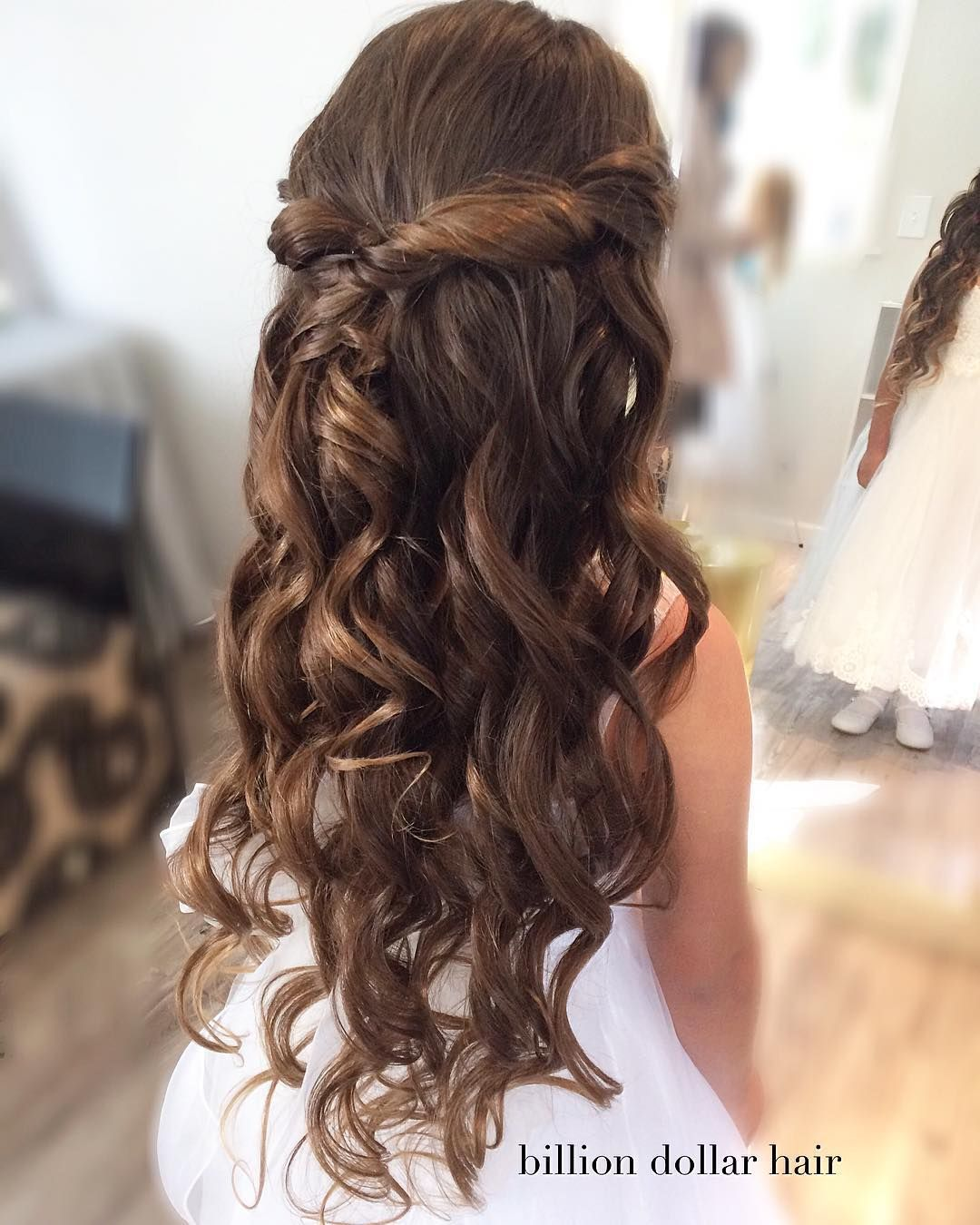 Billion Dollar Hair On Instagram Half Up With Curls And Soft Twists For Sweet Gianna Who First Communion Hairstyles Communion Hairstyles Soft Curl Hairstyles