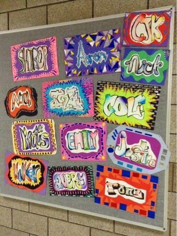 graffiti mola names art at becker middle school. Black Bedroom Furniture Sets. Home Design Ideas