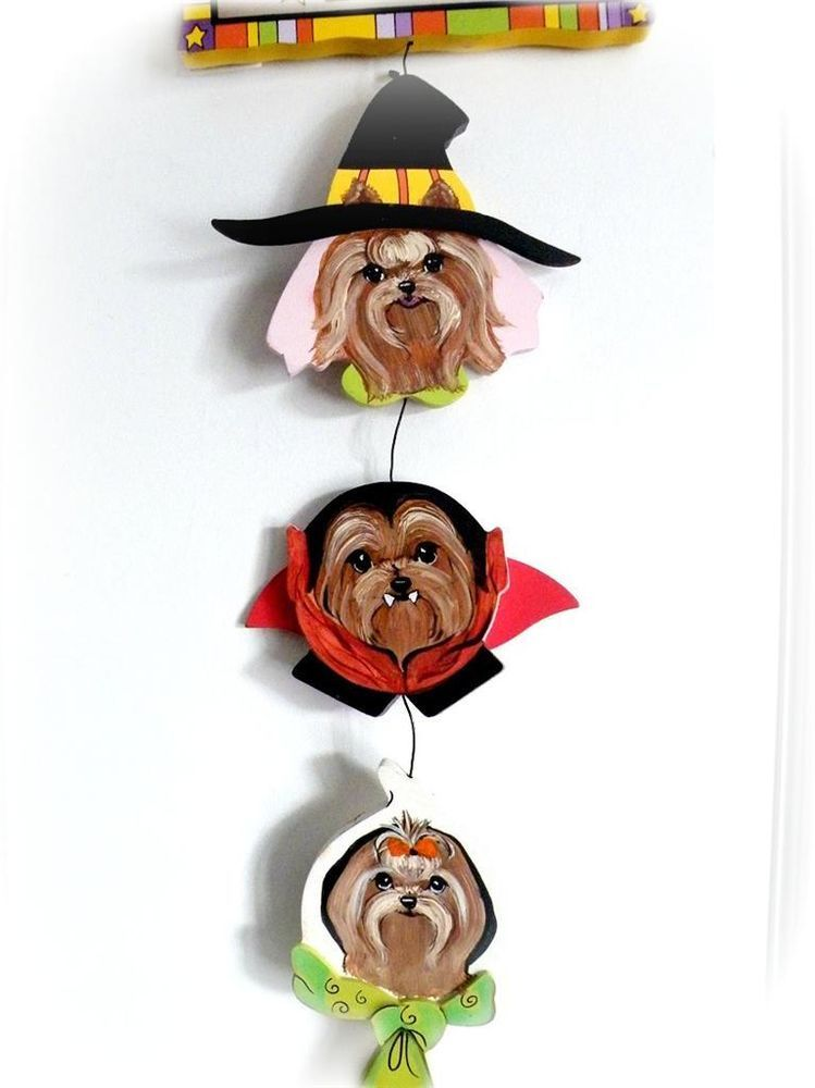 Yorkie Hand Painted Halloween Door Decoration Witch Ghostie Drac SugarspiceArt
