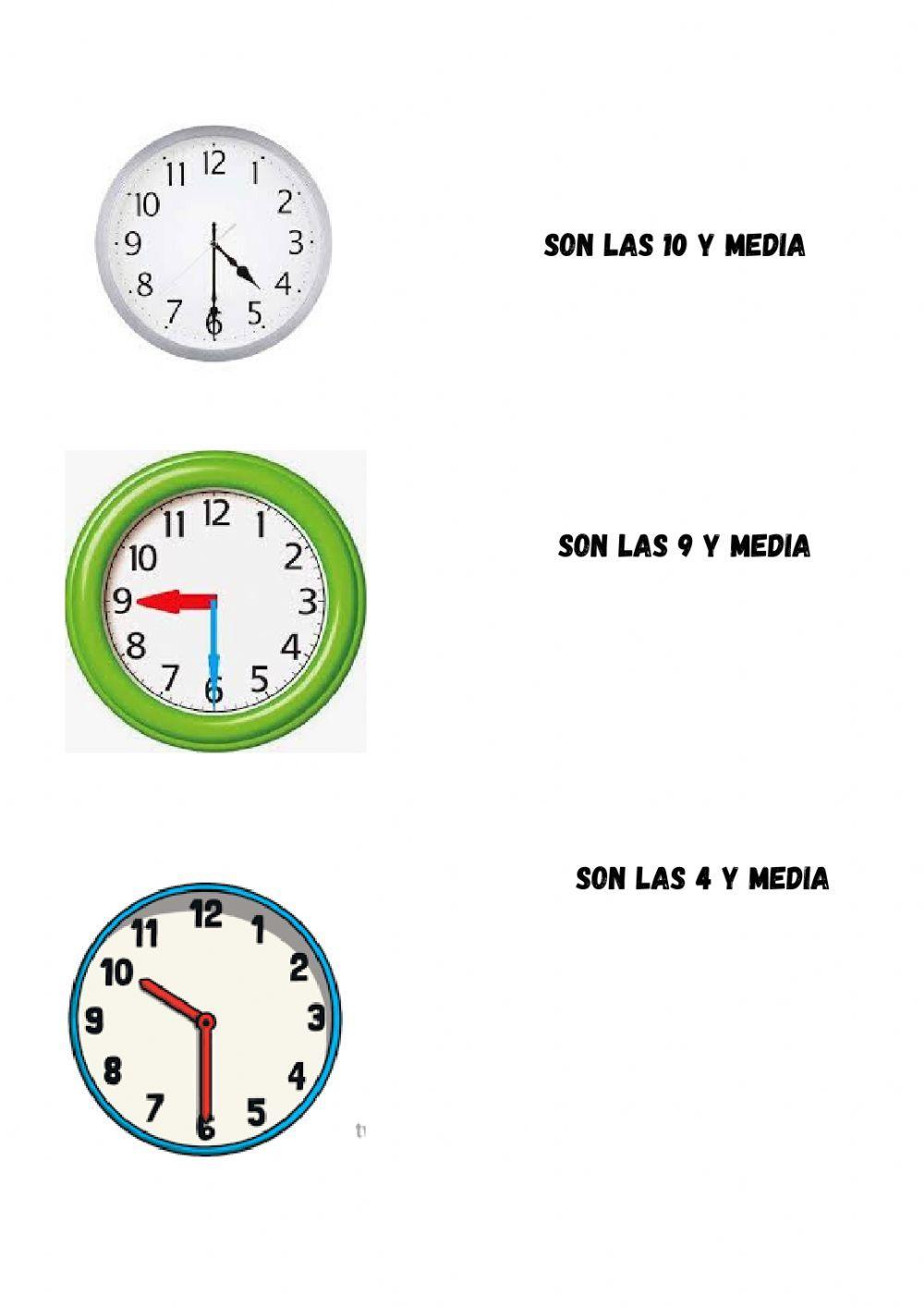 El Reloj De Agujas La Hora En Punto E Y Media Ficha Interactiva Reloj De Agujas Aprender La Hora Medias Para Niñas