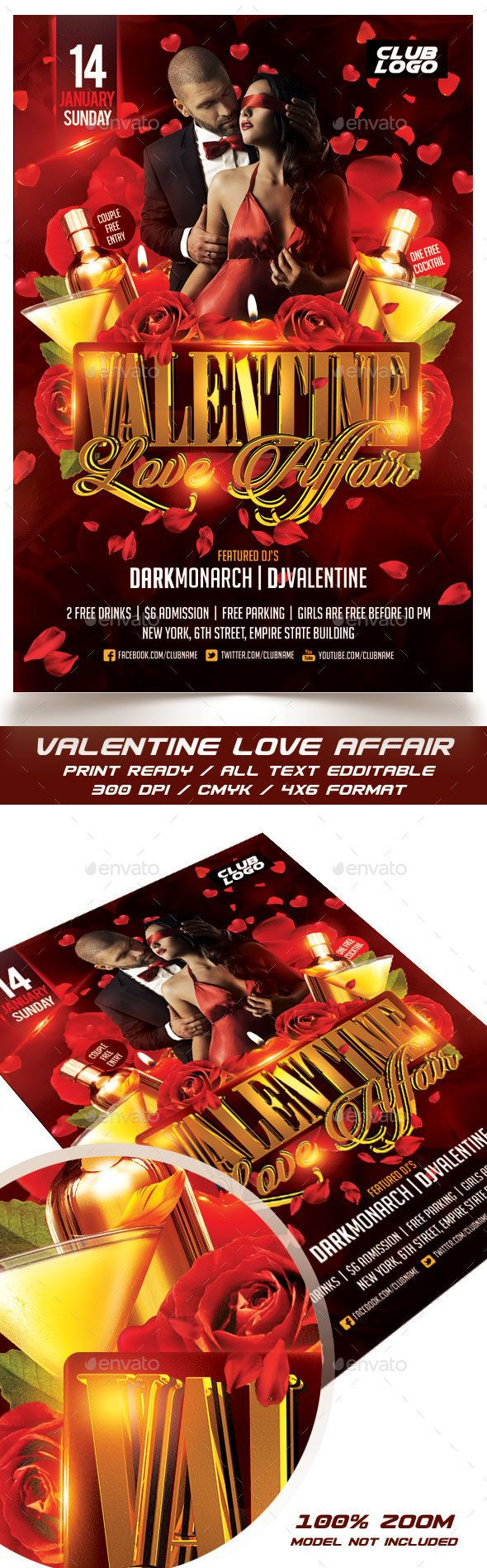 Pin by design com on valentines day Flyer template