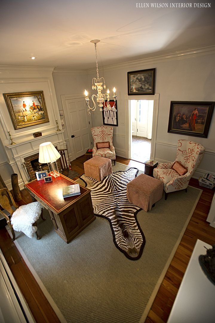 foot rests for living room%0A Wingbacks  u     Ottomans   Benjamin Moore Tapestry Beige   Zebra Skin rug     Fortuny Fabric