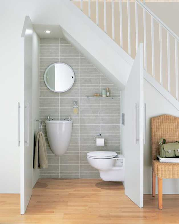 bathroom small space design%0A Builtin toilets and bathrooms under staircases   http   www godownsize